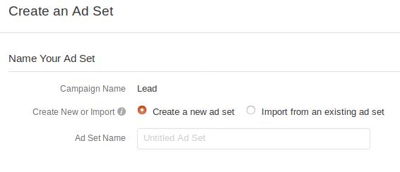 Creating ad set