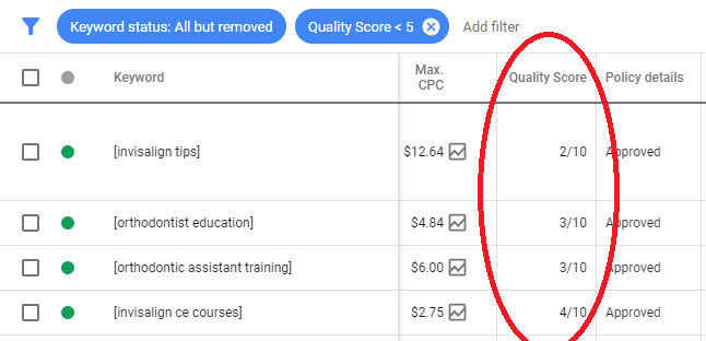 Images are bad for quality score