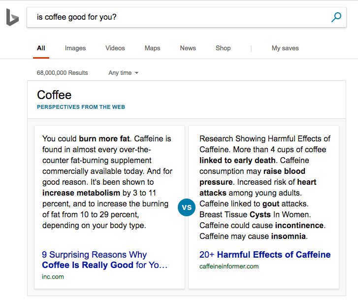 Multifaceted query result